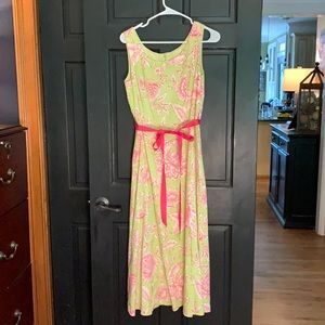 Coldwater Creek pink green midi dress 8P